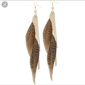 Aldo Faux Gold Feathered Boho Stlye Earrings
